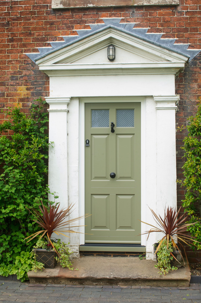 Green-front-entrance-door-black-furniture-etched-glass-panel