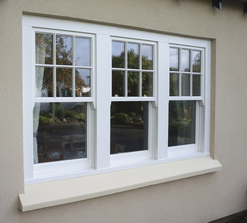 Wooden sash windows in white Leamington Spa