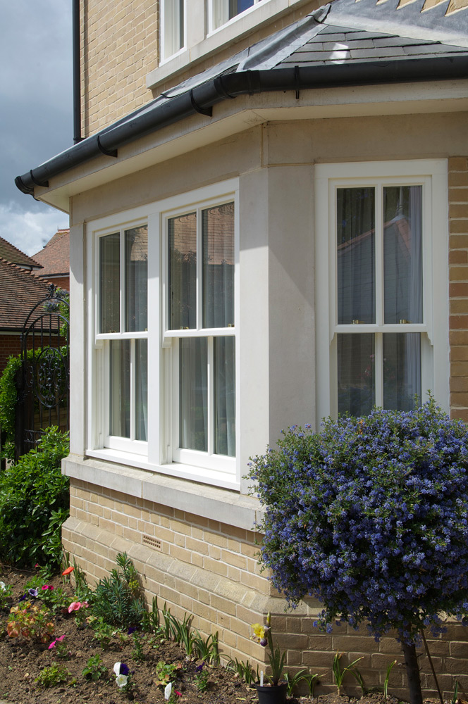 Timber bay window conventional slim box sash Birmingham