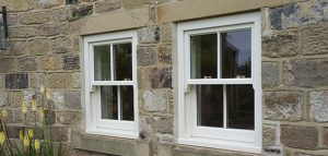 box sash window in cream with Georgian bar