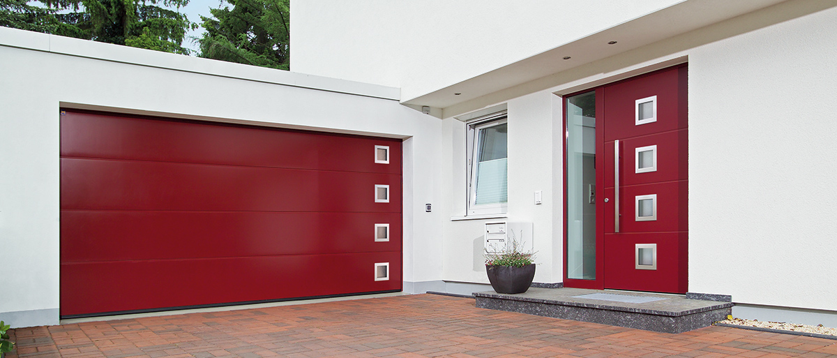 red sectional garage door glass squares stainless steel