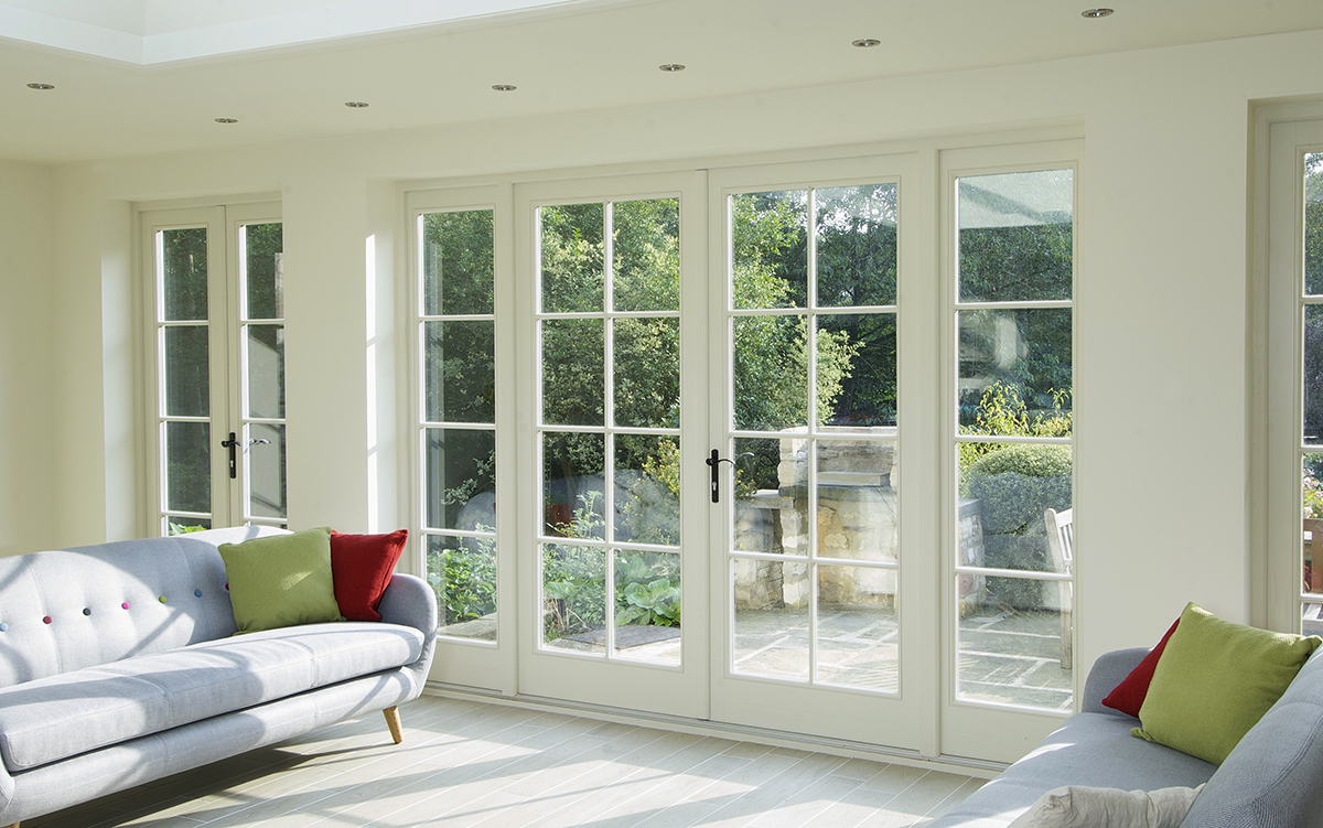 Light wooden French doors